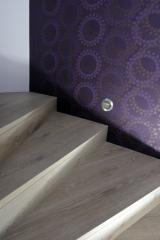 Obložení a renovace schodů - Obložení schodů, kobercový obklad s negativní spárou - Dub Dachstein