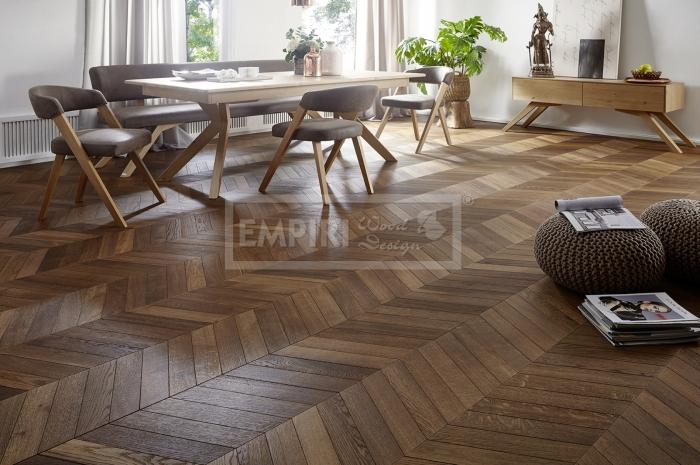 Podlahy Chevron Nantes,classic, jemný kartáč, kouřový, olej