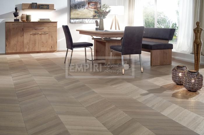 Podlahy Chevron Padova, classic, jemný kartáč, kouřový, bílý olej - šedá barva
