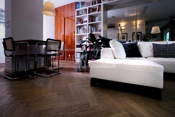 Dvouvrstvá dřevěná podlaha parketa Dub rustikal Brunet