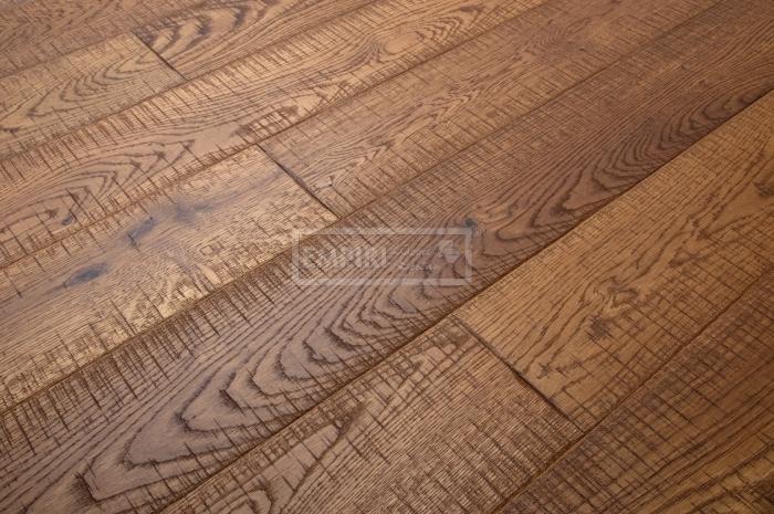 Třívrstvá dřevěná podlaha Dub Rustikal katrovaný, Brunet