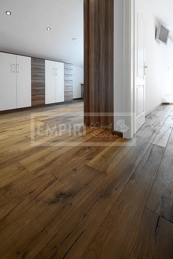 Třívrstvá dřevěná podlaha Dub Caucasus / Artisan, kouřový, ručně škrábaný, olej, fáze