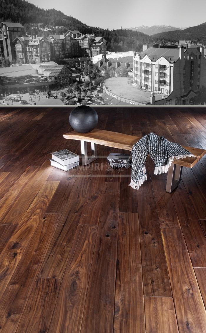 Třívrstvá dřevěná podlaha Americký ořech Mount Whistler ručně škrábaný, hoblovaný